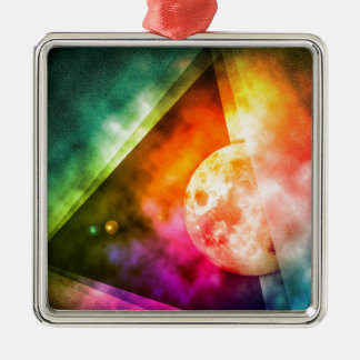 Abstract Full Moon Spectrum Metal Ornament