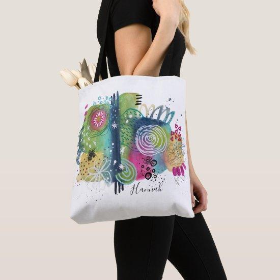Abstract Fun Art Vibrant Colorful Modern Add Name Tote Bag