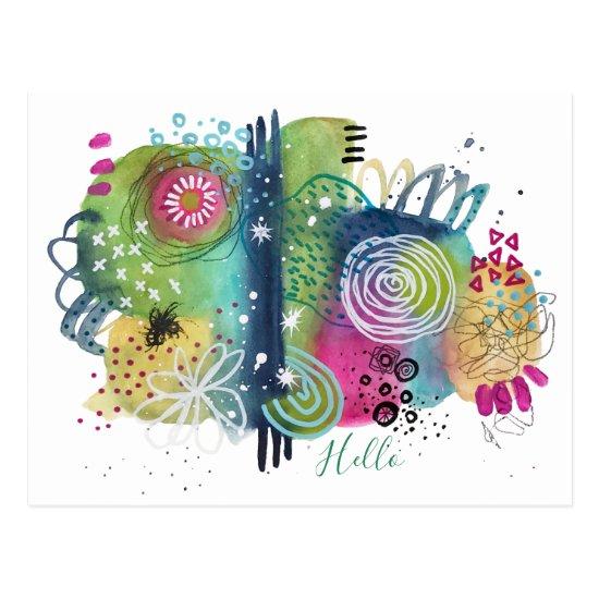 Abstract Fun Art Vibrant Colorful Modern Hello Postcard