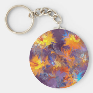 abstract fun flowers wild trendy cute unique boho basic round button keychain
