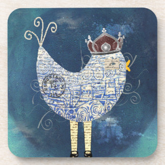 Abstract Funky Bird Collage Coasters