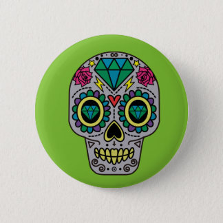 Abstract Funky Colorful sugar skull Button