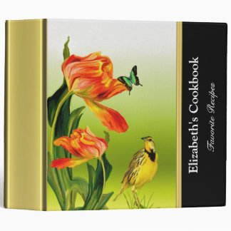 Abstract funky finch recipe cookbook with gold 3 ring binder