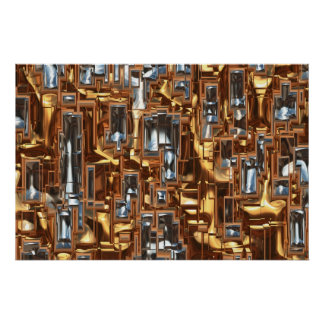 Abstract Futuristic City Metal-effect Art Poster