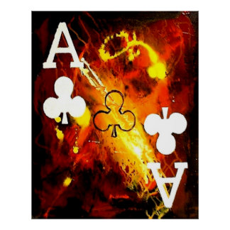 ABSTRACT GALAXY ACES OF CLUBS POSTER