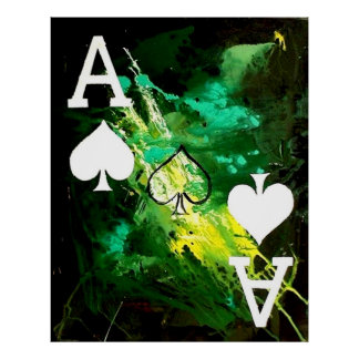 ABSTRACT GALAXY ACES OF SPADE POSTER