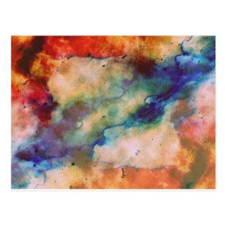 Abstract Galaxy Marbleized Art Postcard