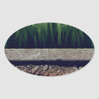 Abstract Garden Greener Grass Other Side Oval Sticker