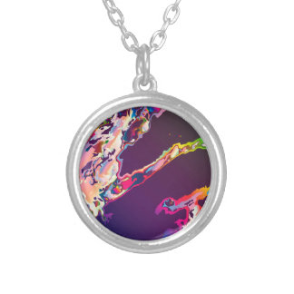 Abstract Gasoline On Water Silver Plated Necklace