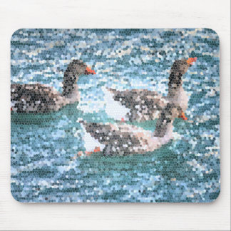 Abstract Geese Blue Lake Stained Glass Mosaic Mouse Pads