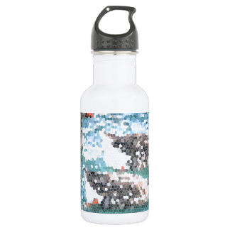 Abstract Geese Blue Lake Stained Glass Mosaic Stainless Steel Water Bottle