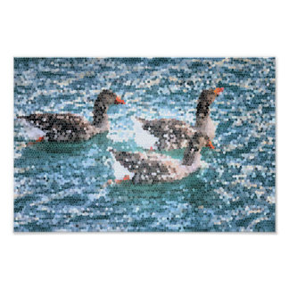 Abstract Geese Water Lake Stained Glass Mosaic Poster
