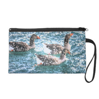 Abstract Geese Water Lake Stained Glass Mosaic Wristlet