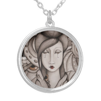 Abstract Geisha Art Necklace