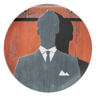 Abstract Gentleman Suit Silhouette Dinner Plate