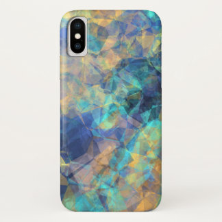 Abstract Geologic Crystal Pattern Blue Green Gold iPhone X Case
