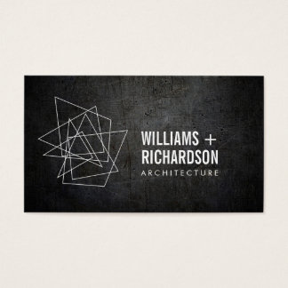 Abstract Geometric Architectural Logo Black Business Card