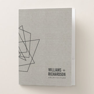 Abstract Geometric Architectural Logo Linen/Black Pocket Folder