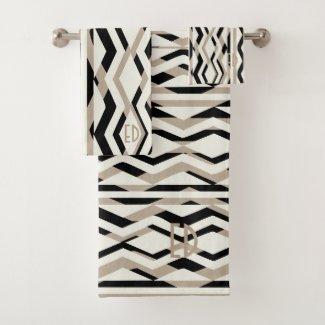 Abstract Geometric Art Deco Bath Towel Set