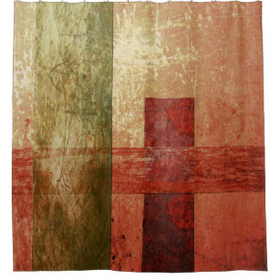 Abstract Geometric Art Grunge Red Orange Green Shower Curtain