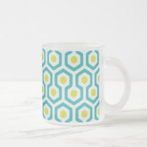 Abstract Geometric Beehive Pattern Frosted Glass Coffee Mug