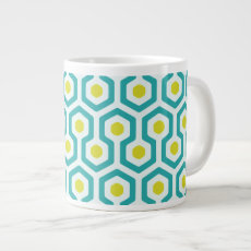 Abstract Geometric Beehive Pattern Large Coffee Mug