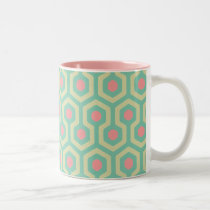 Abstract Geometric Beehive Pattern Two-Tone Coffee Mug