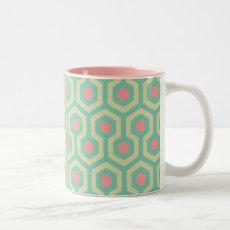 Abstract Geometric Beehive Pattern Two-Tone Coffee Mug
