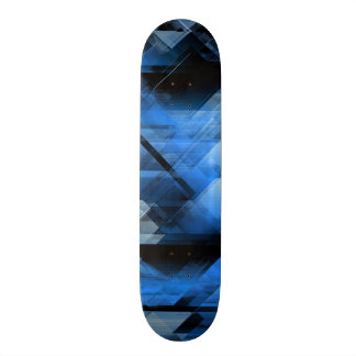 Abstract geometric blue skateboard deck