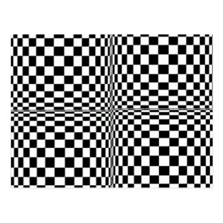 Abstract Geometric Cool 3D Black White Squares Postcard