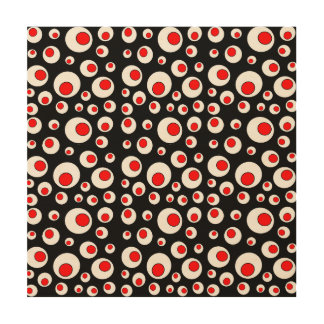 Abstract Geometric Cool Red White Circles Wood Wall Art