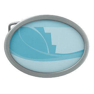 Abstract Geometric Design in Turquoise and Teal. Oval Belt Buckles