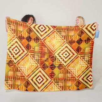Abstract Geometric Fall Pattern Fleece Blanket