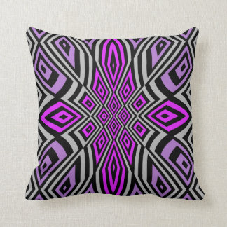 Abstract geometric floral design pink purple pillow