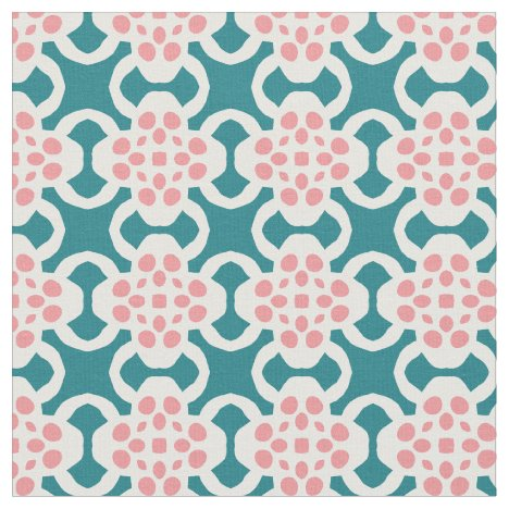 Abstract Geometric Flowers Fabric