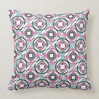Abstract Geometric Gray Pink & Blue Pillow