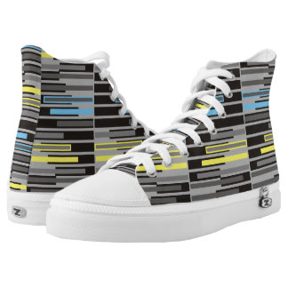 Abstract geometric grey and black stripes High-Top sneakers