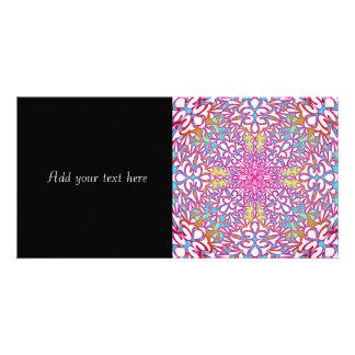 Abstract Geometric Kaleidoscope Design Photo Card