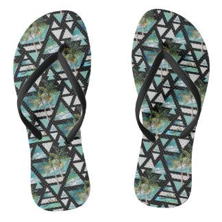 Abstract Geometric Palms & Waves Pattern Flip Flops