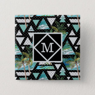 Abstract Geometric Palms & Waves Pattern Pinback Button