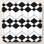 Abstract geometric pattern - black and white. beverage coaster