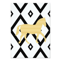 Abstract geometric pattern - black - beige horse. card