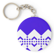 Abstract geometric pattern - blue and white. keychain