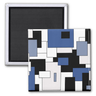 Abstract geometric pattern - blue and white. magnet
