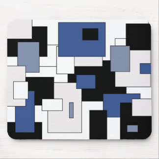 Abstract geometric pattern - blue and white. mouse pad