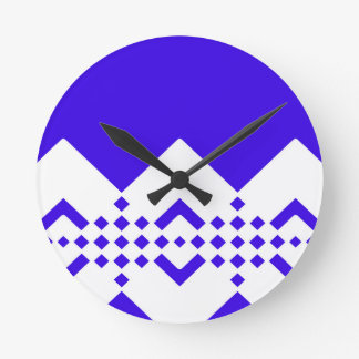 Abstract geometric pattern - blue and white. round clock