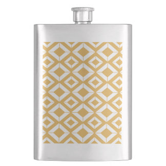 Abstract geometric pattern - bronze and white. flask