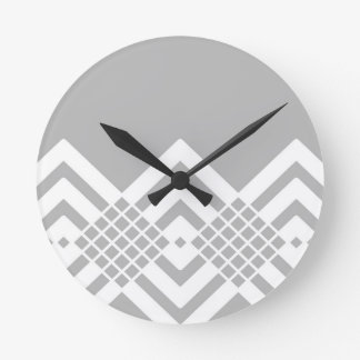 Abstract geometric pattern - gray and white. round clock