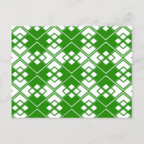 Abstract geometric pattern - green and white. announcement postcard