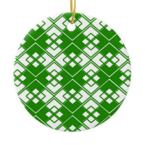 Abstract geometric pattern - green and white. ceramic ornament